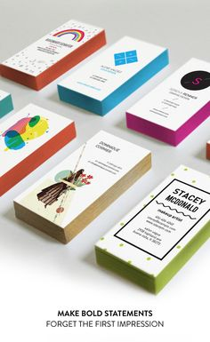 Colorful edge painted business cards - Oubly. Reasonable price for this custom detail.