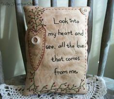Decorative Valentine Pillow Valentines Day by valleyprimitives, $18.95