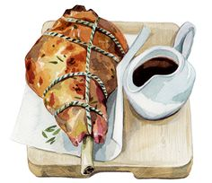 Leg of Lamb (Holly Exley) Watercolor Food, Watercolor Illustration, Watercolour Paintings, Food N, Food And Drink, Holly Exley, Food Doodles, Food Sketch, Food Painting