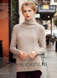Вязание пуловера – водолазки Cabled http://vjazhi.ru/jenskaya-vyazanaya-odejda-s-opisaniem/pulovery/vyazanie-pulovera-cabled-vogue-zima-2014-2015.html
