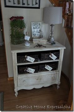 RECYCLED CHEST - no drawers? Use baskets