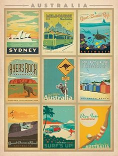 Anderson Design Group Premium Thick-Wrap Canvas Wall Art Print entitled Australia Collection - Retro Travel Posters, None Melbourne, Sydney, Framed Postcards, Vintage Postcards, Posters Australia, Groups Poster, Australian Vintage, Retro Poster, Kunst Poster