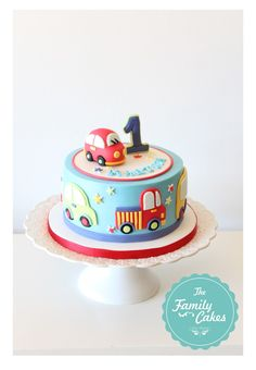 bolo 1 aniversario / Birthday Cake - The Family Cakes - - baby kuchen - first birthday cake-Erster Geburtstagskuchen Birthday Cake Kids Boys, Truck Birthday Cakes, 1st Bday Cake, Disney Birthday, Birthday Ideas, Birthday Themes For Boys, Cars Birthday Parties, Baby Cakes, Cars Theme Cake