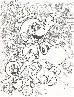 Leuke kleurplaat met Mario