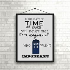 Doctor Who cross stitch pattern/cross stitch Tardis/Quote:in 900 years in time and space I've never met anyone who wasn't by on Etsy Cross Stitch Art, Counted Cross Stitch Patterns, Cross Stitching, Cross Stitch Embroidery, Easy Art Projects, Projects For Kids, Project Ideas, Doctor Who Embroidery, Doctor Who Craft