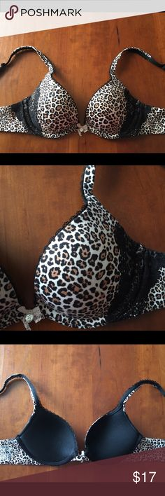 Body by Victoria Push-Up Bra Victoria's Secret Body by Victoria push-up bra size 32B. Cheetah print with black lace accents. It is in good condition without any stains or rips. It was kept in a smoke free home. Victoria's Secret Intimates & Sleepwear Bras