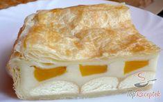 Leveles tészta pudinggal és barackkal | TopReceptek.hu Vanilla Cake, Cake Recipes, Dairy, Food And Drink, Pie, Sweets, Chocolate, Baking, Ethnic Recipes