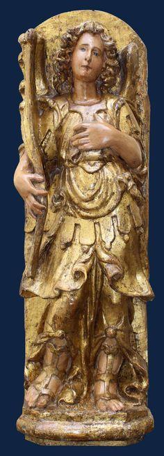 XVII siècle, Ange, bois polychromes et or