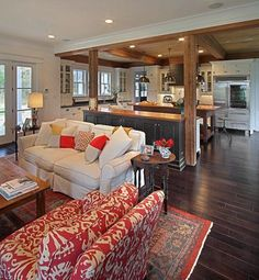 Home Design Ideas: 17 Open Concept Kitchen-Living Room Design Ideas (. Living Room And Kitchen Design, Living Room Designs, Open Plan Kitchen Living Room, Living Room Styles, Craftsman Living Rooms, Craftsman Kitchen, Craftsman Home Plans, Farmhouse Living Rooms, Craftsman Columns