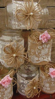 Set of 6 Shabby Chic Rustic Mason Jars with Roses, Rustic Wedding Decor,Wedding Mason Jars ,Mason Jar Centerpieces,Rustic Country decor #ad