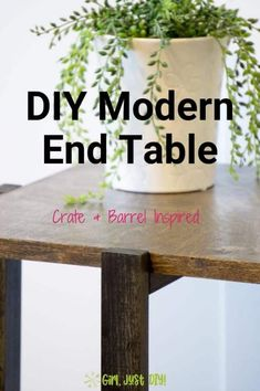 Build this DIY Modern End Table for yourself and get a stylish addition to any room.  A great beginner woodworking project to build in an afternoon. Click to get the plans and build yours this weekend!  #woodworkingprojects #beginnerwoodworking #DIYendtable #diysidetable #girljustdiy