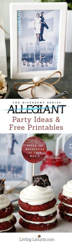 Fun Allegiant Party Ideas perfect for Divergent movie fans! Simple Red Velvet Stacked Cookie Cakes Recipe and Free Party Printables. Great ideas for a birthday or movie watching party. LivingLocurto.com #Allegiant
