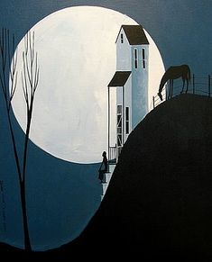 Confiding In The Moon - folk art by Debbie Criswell