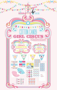 Wants & Wishes $40.00 Party Collection Cotton Candy Girl Circus printable Collection