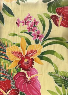 50'eu'eu Tropical Hawaiian plumeria,anthurium  flowrers, apparel cotton Hawaiian vintage style fabric. Add Discount code: (Pin10) in comment box at check out for 10% off sub total at BarkclothHawaii.com