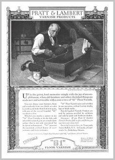 1922  'Up in the garret fond memories . . .''   Painted by Norman Rockwell - for  Pratt & Lambert '61' Floor Varnish