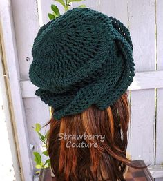Click #strawberrycouture Crochet Hat Womens Hat Trendy Crochet Beanie Hat 50th Birthday Gift for Women  Forest Green Hat Samantha Crochet Womens Turban Hat by strawberrycouture
