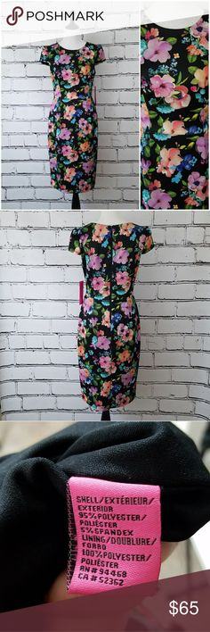 Betsey Johnson Floral Dress! Black dress with pink, orange, blue and purple flowers. Fitted style with a zipper down the back. Capped sleeves. Stretchy fabric. Length is about 41 inches and armpit to armpit is about 18 inches. Brand new with tags! Betsey Johnson Dresses Midi