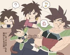 Goku: I want to be like father Raditz: What is he doing? Gine: Aww..Kakorrat is trying to be like his father Bardock: Tch..What is that brat doing