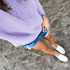 Pastel knits💜 my lavender sweater + my off white slip ons (perfect for spring)🙌🏼 are both under $65! // Screenshot or 'like' this pic to shop the product details from the  LIKEtoKNOW.it app http://liketk.it/2qTjK #liketkit @liketoknow.it