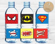 Instant Download Superhero Water Bottle Labels, Printable Birthday Party Wraparounds, Superman Batman Spiderman Comic Book Bottle Labels 21A...