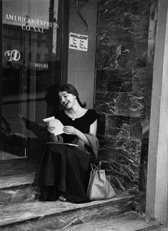 """Ruth Orkin Jinx Reading Her Mail at the American Express Office, Florence, from the """"American Girl in Italy"""" Series 1951 Andre Kertesz, American Girl, Image Photography, Street Photography, People Photography, Portrait Photography, Fashion Photography, Vintage Photographs, Vintage Photos"""