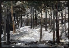 View Woods in Winter by Tom Thomson on artnet. Browse upcoming and past auction lots by Tom Thomson. Canadian Painters, Canadian Artists, Winter Trees, Winter Art, Emily Carr Paintings, Group Of Seven Paintings, Tom Thomson Paintings, Catalogue Raisonne, Forest Light