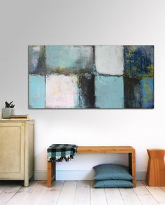 Large Abstract Schilderij - Blue LAYER Serie - turquoise - Acrylic painting - 70cm x 140cm