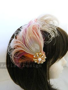 Gold Gem Ivory, and Firey Orange Peacock feather fascinator Hair Clip - Zora design - CHOOSE  headband, comb, or hair clip OOAK design