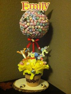 Winnie the Pooh Lollipop Tree (custom made) Party Candy Buffet,Station,Centerpiece or gift. $67.00, via Etsy.