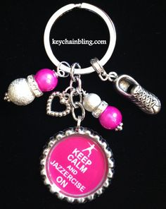 This listing is for one hot pink, KEEP CALM and JAZZERCISE ON bottle cap key chain.  This key chain is perfect for you if you love Jazzercise. It is decorated with very shiny hot pink and silvery stardust beads, a heart charm  (may vary in style) and a running shoe charm. it will even come to y...