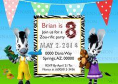 Zou the Zebra Birthday Invitation