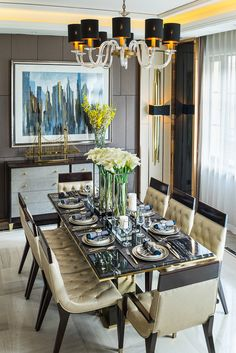 Dining Room Ideas | Charming Space | Home | Dining Chairs | Gorgeous Table | Ornaments | Lighting | Warm Brown | More inspirations at https://brabbu.com/