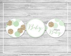 Mint and Gold Baby Shower Cupcake Toppers by SweetPeaPaperieShop