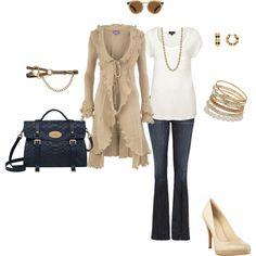combinación saco, remera y pantalón (blanco-marrón claro-azul)