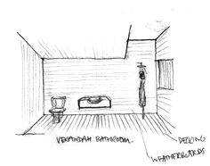 Gull Cottage : Concept Sketch showing the semi outdoor bathrooms // Poppy Bevan Architecture & Interiors
