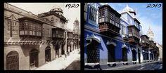 Casa de Osambela, en el Jirón Conde de Superunda, circa 1920 y en el 2010 (Lima-Perú)
