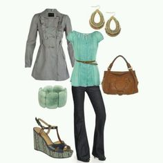 I love the sleeves and especially color of the blouse, dark flare jeans, and shape of the coat
