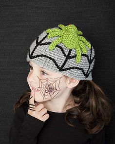 Embrace the creepy crawlies with this arachnid hat! To take the costume up a notch, crochet extra spiders and pin them all over dark clothing.