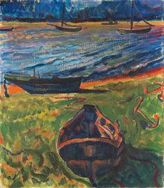 "terminusantequem: ""Max Pechstein (German, 1881-1955), Boote am Dangaster Priel / Kühe, 1910. Oil on canvas, 82 x 71 cm (32,2 x 27,9 in.) """