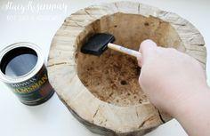 VillarteDesign Artesanato: Como fazer vaso de plantas moderno com toras de madeira