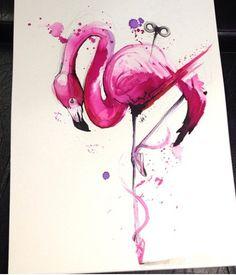 Flamingo ballet dancer watercolour tattoo