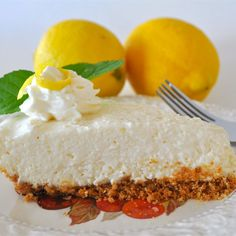 Cream cheese, condensed milk, lemon juice and rind is stirred up in a bowl until smooth, poured into a graham cracker crust, and then chilled. Lemon Desserts, Lemon Recipes, Summer Desserts, No Bake Desserts, Easy Desserts, Delicious Desserts, Dessert Recipes, Yummy Food, Pie Recipes