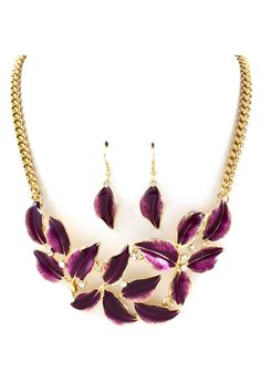 Beautiful Amethyst Flowers with Crystals necklace and earrings. http://buyjewelrydeals.com