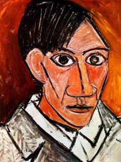 1907 Picasso Autoportrait, self-Portrait Huile sur Toile 50x46 cm. #Cubismo #Art #XXs @deFharo