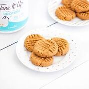 Penut Butter Protein Cookie!  Tone It Up Protein available in Target: 2 scoops vanilla Tone It Up Protein  1/4 cup egg whites  1 cup peanut butter