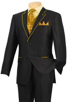 Gold Tuxedo with Black tape on the lapel | His Gold Look ...