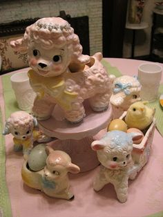 Vintage Lambs for Easter at Thrift Shop Romantic