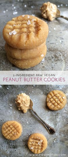 Soft, chewy raw peanut butter cookies are so fluffy and moist in the center after a few hours in the dehydrator. An easy 5 ingredient snack to make for peanut butter lovers! Substitute any nut butter to make your favorite gluten-free cookie. Healthy Vegan Dessert, Cake Vegan, Raw Vegan Desserts, Raw Vegan Recipes, Vegan Sweets, Healthy Sweets, Vegan Foods, Vegan Raw, Diet Desserts