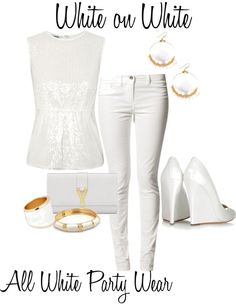 """White on White: All White Party Wear"" by bridgette-wesley on Polyvore"